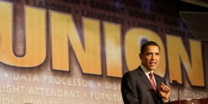 Toeing the party line, Barack Obama is a big supporter of Unions