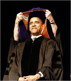 Sen. Barack Obama receiving an honorary doctorate from Xavier University in New Orleans