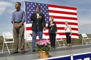 "Obama offers his version of a ""salute"" to the American Flag."